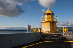 Lighthouse in Reykjavik port Stock Photography
