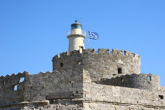 Lighthouse in Rhodes, Greece Stock Image