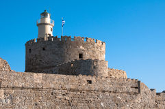 Lighthouse at Rhodes island Royalty Free Stock Photo