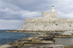 Lighthouse in Rhodos Stock Photo