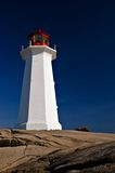 Lighthouse with a rich blue ba. Ckground and roack stock image