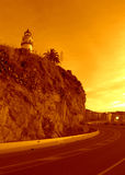Lighthouse and road,Calella,Spain Royalty Free Stock Image