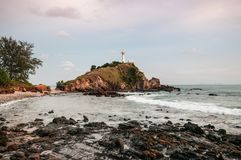 Lighthouse and rock beach at Laem Tanod Cape Koh Lanta, Krabi, T Royalty Free Stock Images