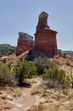 Lighthouse rock formation at Palo Duro Canyon, USA. Lighthouse rock formation against clear blue sky at Palo Duro Canyon, Texas, USA Royalty Free Stock Images