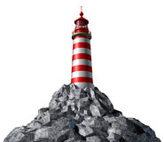 Lighthouse on a rock mountain. And strategic guidance symbol with a light house concept on a white background from the high tower for security and clear Stock Image