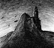 Lighthouse on rock at night sketch. Lighthouse on rock at night. Black and white hand drawn sketch Royalty Free Stock Images