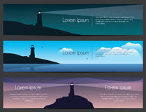 Lighthouse on the rock with sea banners set. Stock Photo