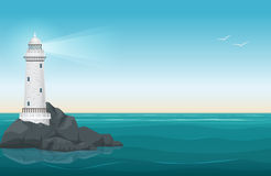 Lighthouse on rock stones island landscape. Navigation Beacon building in ocean. Vector illustration. Stock Image
