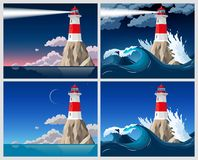 Lighthouse on the rock. Vector illustration of lighthouse on the rock royalty free illustration