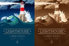 Lighthouse on the rock royalty free illustration