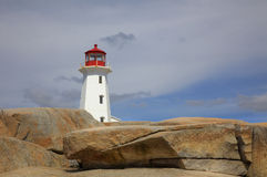 Lighthouse & Rocks. A lighthouse sits on top of a pile of rocks Royalty Free Stock Photography