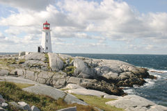 Lighthouse on the Rocks. A Lighthouse on the Rocks by the ocean Royalty Free Stock Photography