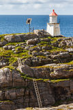 Lighthouse on the rocks. Royalty Free Stock Photo