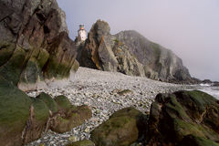 Lighthouse on the rocks. Royalty Free Stock Photos