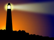 Lighthouse on rocks at sunset or sunrise. Lighthouse on rocks in silhouette against a sun which may be rising or setting depending upon the context of your stock illustration