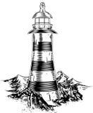 Lighthouse on rocks stock illustration
