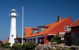 The lighthouse in Roenne on Bornholm. Denmark stock images