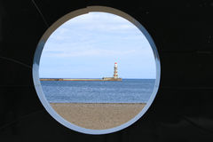 Lighthouse on roker pier. Through a view point Royalty Free Stock Photo
