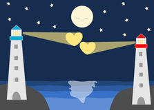 Lighthouse in a romantic scene about distance love cartoon illustration Royalty Free Stock Image
