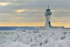 Lighthouse of Rügen island. In the winter Royalty Free Stock Image
