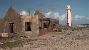 Lighthouse  and ruins on Bonaire stock video