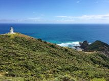 Lighthouse and sacred point at Cape Reinga, New Zealand Stock Photography