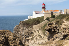 Lighthouse of Sagres, most western point in Europe Royalty Free Stock Photo