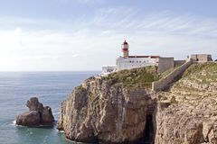 Lighthouse at Sagres in Portugal Stock Photo