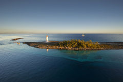 Lighthouse and sail ship, Paradise Island in Nassau, Bahamas Royalty Free Stock Photography
