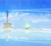 Lighthouse and sailboat illustration Royalty Free Stock Photos