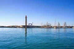 Lighthouse of the Saint-Louis mole, Sete, Languedoc-Roussillon Royalty Free Stock Photo