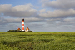 Lighthouse in Salt Meadows stock image