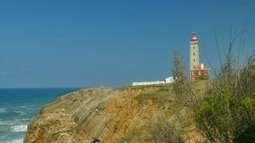 Lighthouse at Sao Pedro de Moel, Portugal stock footage