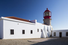 Lighthouse Sao Vicente, Sagres Portugal. Red lighthouse Sao Vicente, Sagres Portugal stock photo