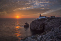 Lighthouse Sao Vicente during sunset, Sagres Portugal Royalty Free Stock Photography