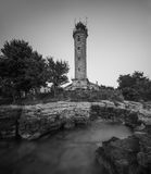 Lighthouse in Savudrija, Istria, Croatia, Black and White Stock Photo