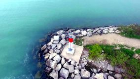 Lighthouse in the Scarborough bluffers park. stock video