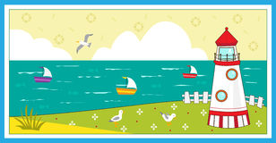 Lighthouse. Scenery - Cute vector illustration a , seagulls, boats and decorative elements. Eps 10 Royalty Free Stock Photography