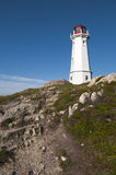 Lighthouse Scenic. Lighthouse located at the top of the hip with bright blue sky in the background located in Nova Scotia, Canada Royalty Free Stock Photos