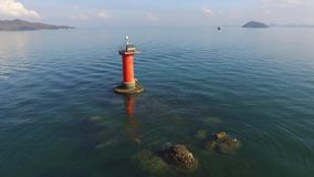 Lighthouse in the sea stock video