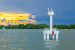 The lighthouse in the sea Royalty Free Stock Photography