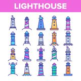 Lighthouse, Sea Beacon Linear Vector Icons Set. Lighthouse, Signal Light House Thin Line Contour Symbols Pack. Sailor Safety Warning Pictograms Collection stock illustration