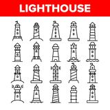 Lighthouse, Sea Beacon Linear Vector Icons Set. Lighthouse, Signal Light House Thin Line Contour Symbols Pack. Sailor Safety Warning Pictograms Collection vector illustration