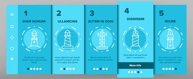 Lighthouse, Sea Beacon Linear Vector Onboarding royalty free illustration