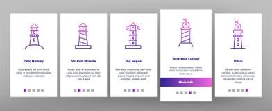 Lighthouse, Sea Beacon Linear Vector Onboarding stock illustration