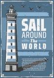 Sea lighthouse or beacon. Marine travel. Lighthouse or sea beacon retro vector nautical navigation tower, marine travel and tourism safety theme. Vintage stock illustration