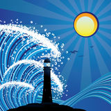 Lighthouse in the Sea. Blue stylized sea with big waves and lighthouse stock illustration