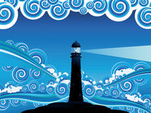 Lighthouse in the Sea Royalty Free Stock Photography