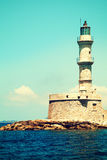 Lighthouse and sea in Chania Crete Stock Photography