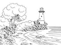 Lighthouse Sea Coast Graphic Black White Landscape Sketch Illustration Royalty Free Stock Photos
